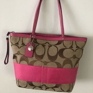 Authentic Coach Pink/Brown Jacquard Tote Bag